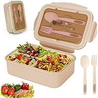 Sinwind Lunch Box, Bento Box, Boite Bento, Boîte Bento1400 ML avec 3 Compartiments et Couverts (Beige)