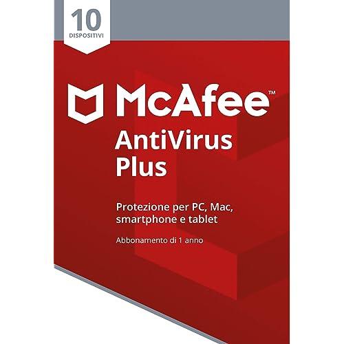 McAfee Antivirus Plus 10 Dispositivi | Abbonamento di 1 anno | PC/Mac/Smartphone/Tablet | Codice di attivazione via mail