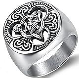 Anello con sigillo in acciaio inossidabile, motivo: nodo celtico, stile vichingo, ideale per motociclisti