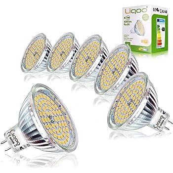 Liqoo GU5.3 LED 12V 5W MR16 Bombilla GU 5.3 Blanco Cálido 2800K Ojo de Buey Equivalente a Halógena Foco 400 Lumen 35W Ø50 x 48 mm Pack de 6