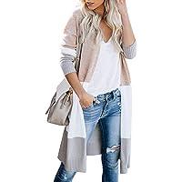 EVELIFE Cardigan Maglione Donna Maniche Lunghe Elegante Cappotto in Maglia Blocchi di Colore Senza Tasche Autunno…