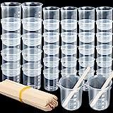 36 قطعة من الأكواب السائلة البلاستيكية للقياس من LEOBRO 12 قطعة كوب خلط الإيبوكسي 100 مل، 24 قطعة 50 مل، كوب خلط الطلاء 20 قط
