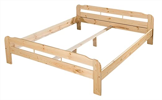 Kieferbett - Massiv Holz Bett Kiefer natur lackiert - Grösse ...