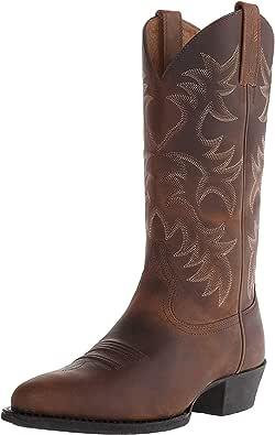 Stivali da Uomo Tacco Alto Autunno Inverno Modello Ricamato Scarpe al Polpaccio Scarpe Casual da Esterno Stivali da Cowboy Occidentali Calzature