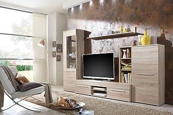 Wohnwand Wohnzimmerschrank Anbauwand TV Element Cannes In Eiche Sonoma    Made In Germany