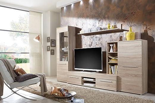 Wohnwand Wohnzimmerschrank Schrankwand TV Element Anbauwand CANNES In Eiche Sonoma