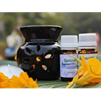 Spendiff Ceramic Aroma Oil Burner - Black Color with 2 Bottles of Essential Aroma Oil and 4 Tea Light Candle (Oil…