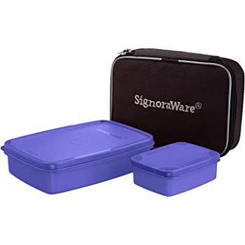 Signoraware Compact Small Lunch Box with Bag, 2-Pieces, Deep Violet