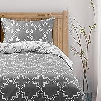 Viewstar Bedding Sets Housse de Couette 135 x 200cm avec Fermeture avec 2 Taie d'oreiller 80x80cm Gris foncé Parure de…