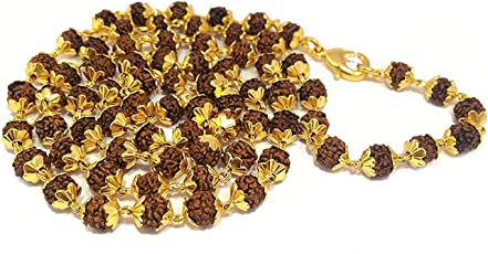 Shree Hari Fashion Original Rudraksh Mala Shiva God Gold Plated Rudraksh Mala Chain 7mm 54 Beads Long 24 Inches For Unisex