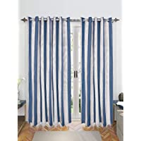 Saral Home Blue Bamboo Stripes Cotton Yarn Eyelet Door Curtains - (Set of 2, 4x7 Feet)