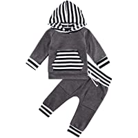 Kids4ever Baby Boy Clothing Sets Newborn Print Hoodie Outfits Toddler Sweatshirt + Pants with Pocket and Drawstring for 0-24 Months