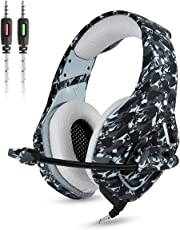 Gaming Kopfhörer - Onikuma K1-B 3,5mm über Ohr Stereo Kopfhörer Gaming mit Mikrofon Stumm In-line Noise Isolating Lautstärkeregler Headset für PS4 Xbox One PC Mac iPad Tablet Smartphone(Camo Dunkelgrun)