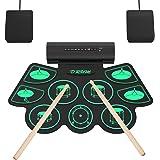 Batterie Électronique Drum Set, 9 Pads Batterie Électrique, Enceinte Intégré, Baguettes en Bois et Pédales, Roll Up Tambour p