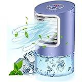 Climatiseur Portable, 3 en 1 Bureau Ventilateur, Mini Refroidisseur d'air Evaporatif, Humidificateur et Purificateur avec 3 V