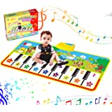 RenFox Tappeto Musicale Bambini, Tappetini Pianoforte con 8 Suoni di Animali e 9 Melodie Tappetini Musicale Strumento Tappeto