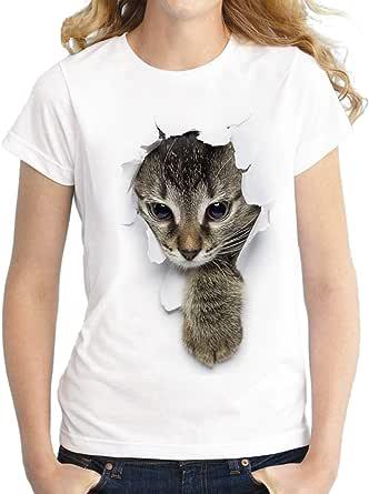 SOMTHRON Hommes Dames Enfants Famille 3D Imprimer T-Shirt Chat avec Drôle Graphique Imprimer Doux Col Rond Casual Top T-Shirts