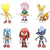 REYOK Figure sonique 6pcs Sonic Figurines Soniques Sonic Gâteau Cake Topper Mini Figurine Jouet PVC Jouet Sonic Personnages F