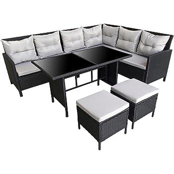 SVITA Poly Rattan Ecksofa Rattan Lounge Esstisch Gartenmöbel Set Sofa  Garnitur Couch Eck