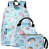 SEDEX Mochila Escolar Unicornio Niña Infantil Adolescentes Sets de Mochila Backpack Casual Set con Bolsa del Almuerzo y Estuc