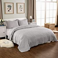 Quilting Tree Stone Grey Embroidery Quilted Bedspread Blanket and Pillowcase Set King and Queen Size