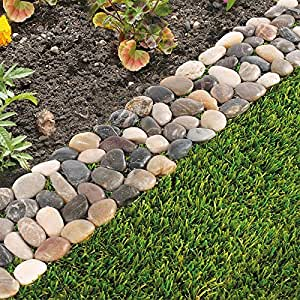 Wonderful Pack Of 8 Garden Flower Bed Edging Strip Pebble Stone Borders