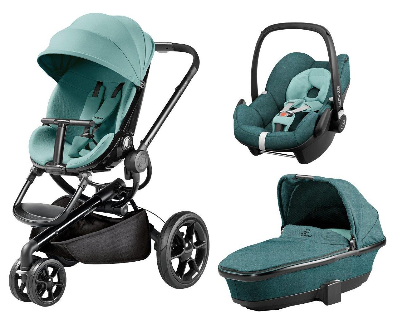 Quinny Quinny Moodd Pushchair, Foldable Carrycot, Pebble Car Seat Package - Novel Nile Quinny  1