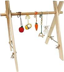 Pieghevole bambino ginnastica set con 5staccabile crochet giocattoli in legno naturale–Baby attività di gioco in legno bar per neonati