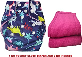 Bottom Genius Reusable Pocket Cloth Dinosaurs Printed Diaper with 2 Microfiber Inserts (Pink)