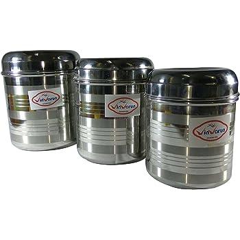Vinvarun Stainless Steel Kitchen Storage Container, Silver, 3 Pieces