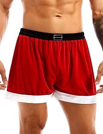Agoky Men's Boxer Shorts Velvet Bottoms Xmas Trunks Christmas Cosplay Boylegs Underwear