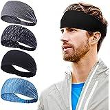 VEGCOO 4 Pack Bandeau de Sport, Bandeau de Yoga pour Femmes, Bandeau de Fitness pour Hommes–Fit pour Courir, Le Cyclisme et L