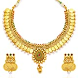 Sukkhi Eye-Catchy Pearl Gold Plated Wedding Jewellery Temple Jewellery Coin Necklace Set For Women (2115NGLDPV2000-AMZ)