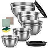 Saladier Inox 5PCS avec Couvercle, HAUSPROFI Bol Mélangeur Acier Inoxydable 304 pour Pâtisserie/Pâte/Petit Déjeuner 0,75L/1,2