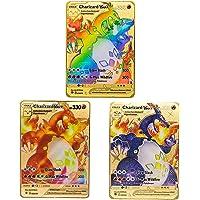 Lot de 3 cartes Pokémon rares en métal doré (3 Dracaufeu VMAX)