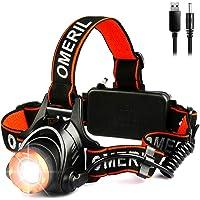 OMERIL Lampe Frontale Puissante,Torche Frontale USB Rechargeable LED CREE XML-T6,2000 LM,500 Mètres,3 Modes Eclairage…
