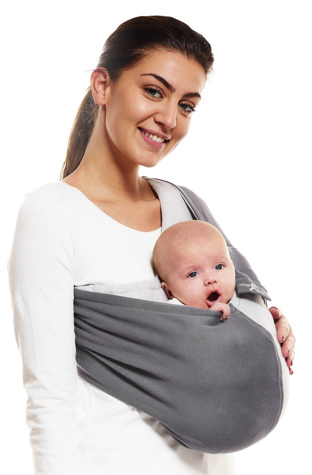 Wallaboo Wrap Sling Carrier Connection, Easy Adjustable, Ergonomic, 3 Carrying Positions, Newborn 8lbs to 33 lbs, Soft Breathable Cotton, 3 Sitting Positions, EU Safety Tested, Color: Grey / Silver Wallaboo Ergonomically correct design with three natural positions: sleep, sit and active- one size fits all Can be used from premature baby through to 33lbs - with easy-to-use features like a full-front opening and an adjustable back Single piece of fabric, no straps, belts or buckles - partly padded to give extra comfort- no wrapping, no hardware. ready to wear 2