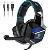 PC&PS4 Gaming Headset, EasySMX K5 Stereo Gaming Headset USB & 3,5 mm Audio Anschluss Faltbares Mikrofon On-Line Steuerung Breathing LED für PS4 / PC (Schwarz+Blau)