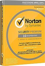 Norton Security Premium 2018 Licenza per 10 Dispositivi per 1 Anno – Licenza ESD (Electronic Software Distribution)