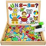 COOLJOY Puzzle Magnetico Legno, Giocattolo di Legno Bambini con Double Face Disegno cavalletto Lavagna, apprendimento educati