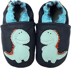 Carozoo Stegosaurus Dark Blue Baby Boy Soft Sole Leather Shoes