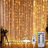SUNNEST LED-ljusslingor, ljusgardin, 300 lysdioder, USB-gardinlampor, strängljus, 8 lägen med fjärrkontroll och timer, IP68,