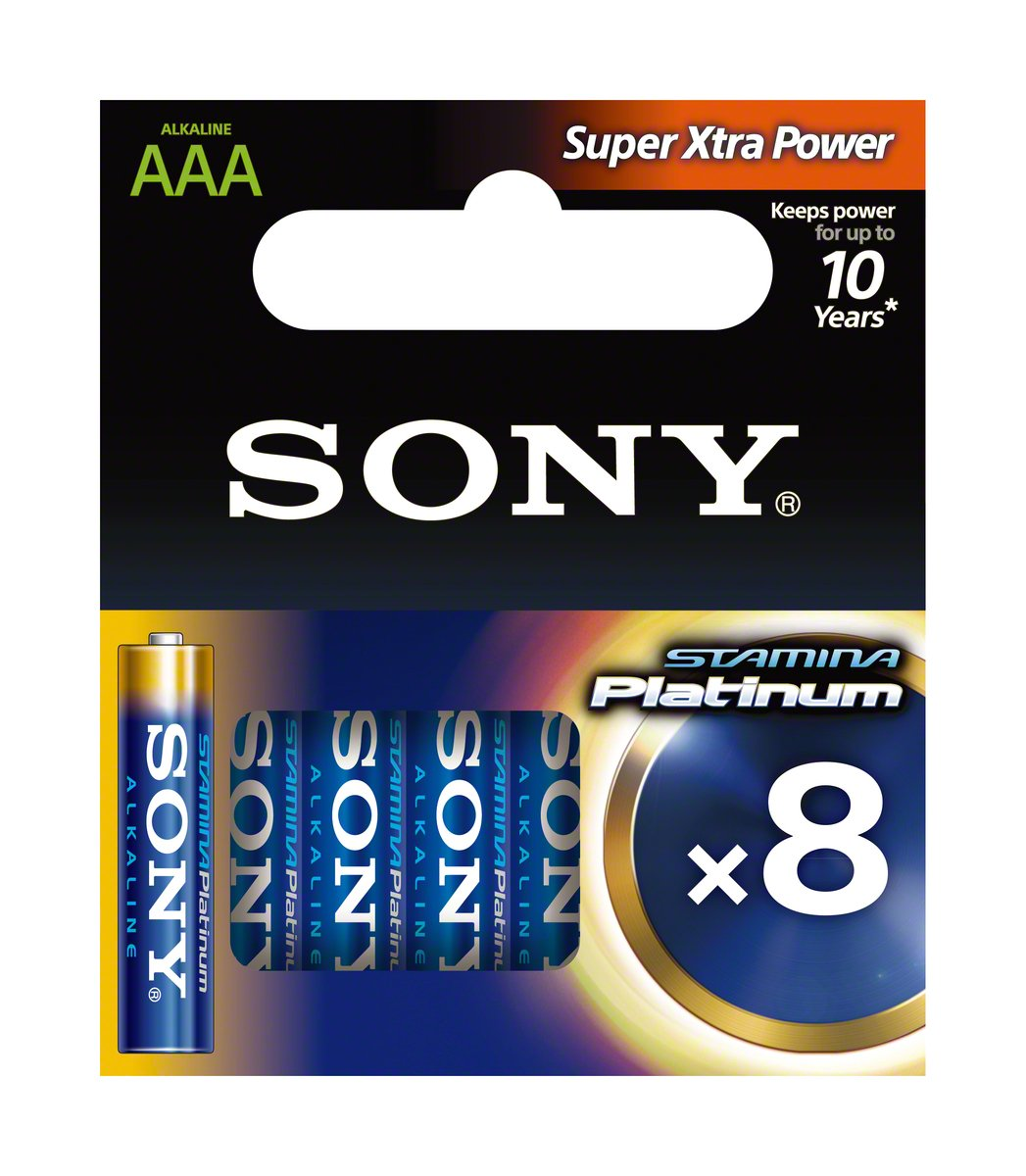 Sony 8x AAA Stamina Platinum Alkaline 1.5V non-rechargeable battery - non-rechargeable batteries (Al