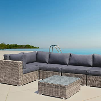 Rattan gartenmöbel sofa  Amazon.de: andresa von luxurygarden Ecke Rattan Gartenmöbel Sofa ...