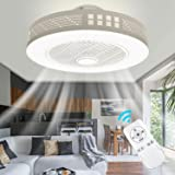 LED Fan Plafonnier Moderne Nordique Dimmable Ventilateur Au Plafond avec Lampe Ultra-Mince Invisible 45W Lustre De Ventilateu