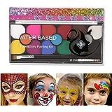 Watergeactiveerde schmink, Fesjoy 15 kleuren schminkkit met 2 borstels Wasbare schminkpalet voor gezichtsverf Veilig Niet-gif
