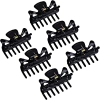 6 Pieces Plastic Hair Clips Claw Women Hair Claw Clamps Hairpin (S, Black)