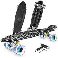 Caroma Skateboard per Bambino Ragazza Ragazzi, Mini Cruiser Skateboard Completo da 22 Pollici con Ruote Illuminate a LED…