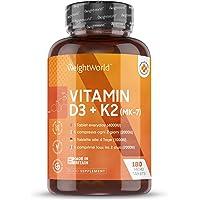 Extra fort 4000UI Vitamine D3 & K2 (MK-7) - 180 Gélules (6 mois d'approvisionnement) - Augmente le calcium pour la santé…