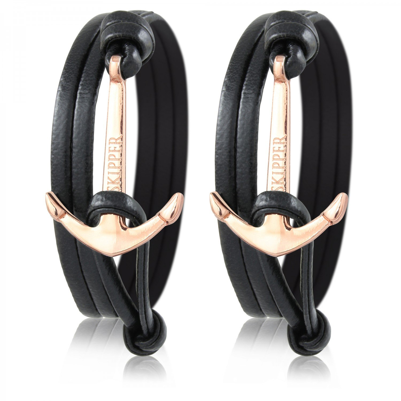 Skipper Partner-Armbänder aus Leder 2er Set mit Goldenem Edelstahl Anker für Paare - Schwarz + Schwarz 7163